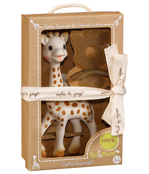 Vulli Sophie la girafe + sucette de dentition caoutchouc Chewing Rubber SO'PURE