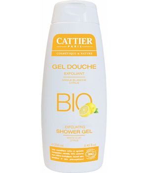 Cattier Gel douche exfoliant sans savon Argile blanche Citrus 250ml