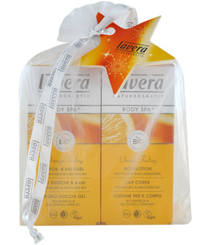 Lavera Coffret orange Feeling: Gel douche Bain + lait corps dans sachet Organza 300ml