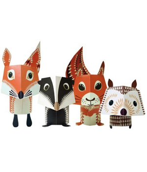 Coq En Pâte Paper Toys The Forest Friends 100 % Papier recyclé Collection Mibo