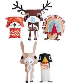 Coq En Pâte Paper Toys Festive Friends 100 % Papier recyclé Collection Mibo