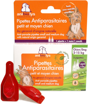 2 Anti-parasitic pipettes for medium & small dogs