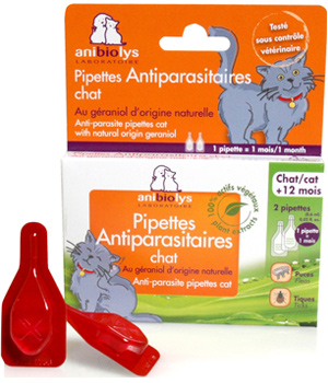 Anibiolys 2 Pipettes antiparasitaires chat + de 2 mois 1.2ml