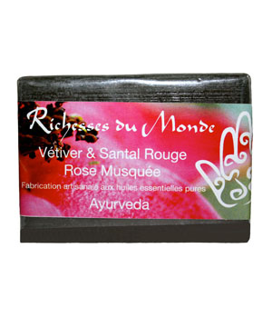 Richesses Du Monde Savon ayurvédique naturel Vetiver Santal Rouge 125g