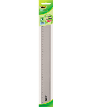 Bic Ecolutions Règle double décimètre plate Bords anti taches 30cm