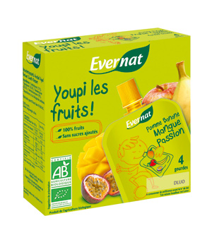 Evernat Youpi les fruits Mangue Passion 4x85g