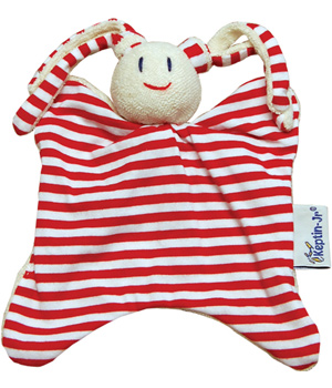 Keptin jr Doudou rayé rouge Rattle girly 25cm