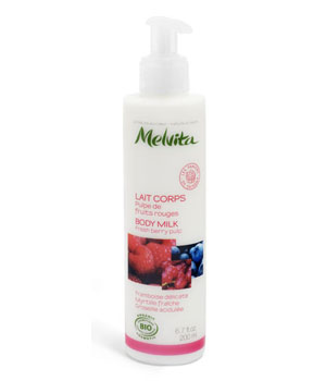 Melvita Lait corps fruits rouges Framboise Myrtille Groseille 200 ml
