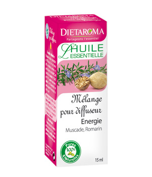 Dietaroma Mélange pour diffuseur Energie: Muscade Romarin 15ml