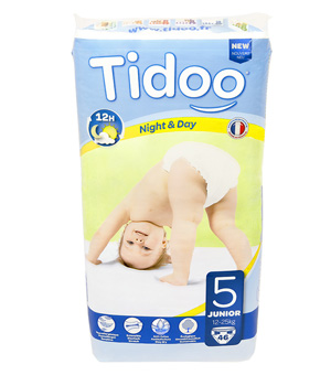 Tidoo 46 couches Taille 5 : Junior 12 25Kg