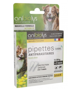 Anibiolys 2 Pipettes antiparasitaires grand chien 4ml