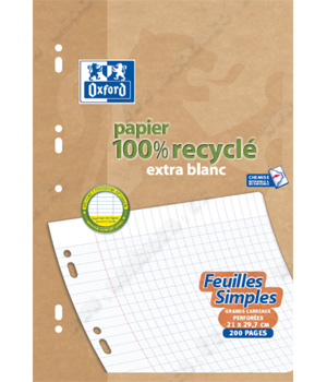 Ecoburo 200 pages mobiles Oxford A4 90g recyclé Seyès 100 feuillets