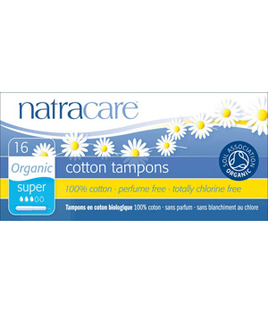 Natracare 16 Tampons super avec applicateur en coton bio