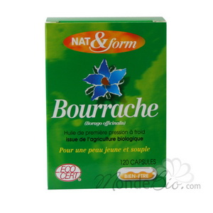 Huile de bourrache + vitamine E 120 capsules Nat et form
