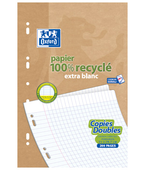 Ecoburo 50 Copies doubles recyclées 21 x 29.7cm Oxford grands carreaux perforées A4 90g