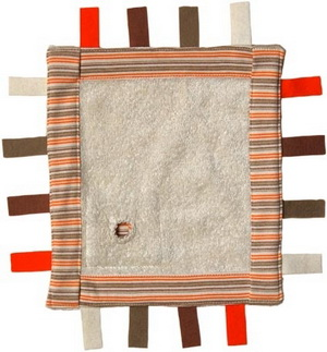Keptin jr Carré de tissu doudou bords orange 26X24cm