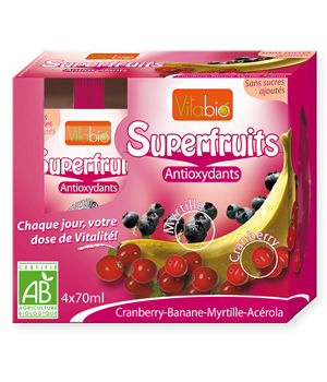 Vitabio Superfruit cranberry/Banane/Myrtille antioxydant 4X70ml