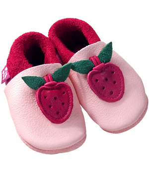 Pololo Chaussons en cuir naturel Fraise rose/rouge taille22/23