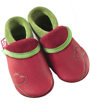 Pololo Chaussons en cuir naturel Sunshine framboise/vert taille20/21