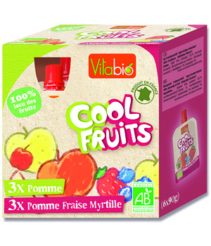 Vitabio Cool fruits Pomme Fraise Myrtille 6 gourdes 90g