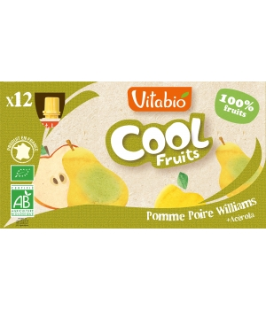 Vitabio Cool fruits Pomme Poire Williams +Acérola bio 12 gourdes de 90g