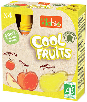 Vitabio Cool fruits Pomme Poire williams bio 4 gourdes de 90g