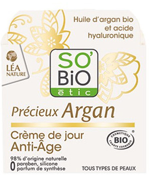creme de jour anti age precieux argan acide hyaluronique so bio etic 50ml. Black Bedroom Furniture Sets. Home Design Ideas