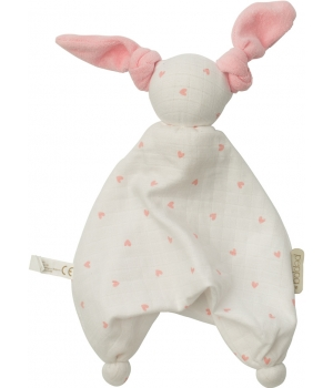Babylonia Doudou Floppy muslin/terry white pink hearts