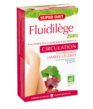 SuperDiet Fluidilège Bio Circulation tonifiée 20 ampoules de 15ml