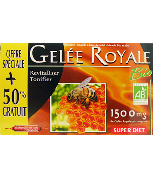 Super Diet Gelée Royale bio 20 ampoules Super diet  de 15ml + 50% gratuit