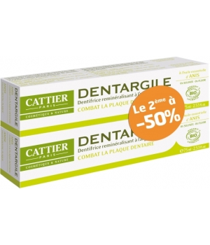 Cattier Lot de 2 Dentargile reminéralisant à l'Anis anti tartre 2x100g