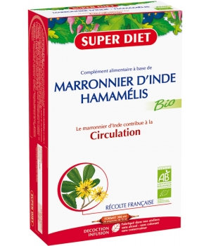 Super Diet Marronnier d'Inde Hamamélis Bio Circulation tonifiée 20 ampoules de 15ml soit 300ml