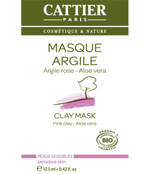 Cattier Masque argile rose Aloe vera sachet unidose 12.5ml