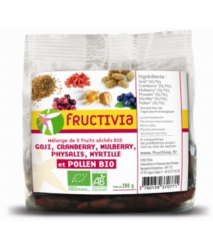 Fructivia  Mélange 5 Fruits et Pollen Goji Cranberries Mulberries Physalis Myrtilles 200g