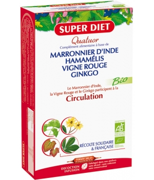 Super Diet Quatuor Circulation Vigne Rouge Marronnier Hamamélis Ginkgo 20 ampoules de 15ml