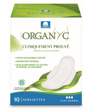 Organyc Serviettes ultra fines Flux normal Boîte de 10