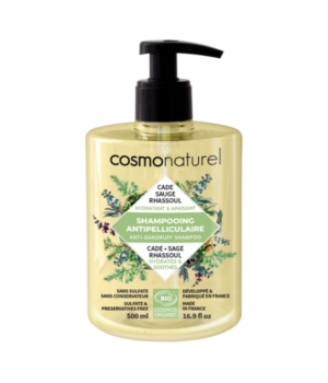 Cosmo Naturel Shampoing anti pelliculaire Cade Sauge Rhassoul 500ml
