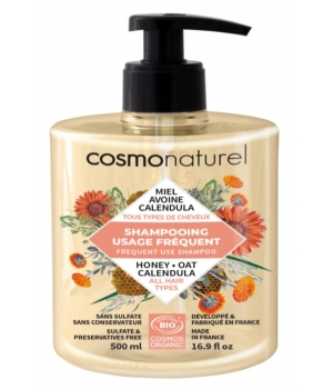 Cosmo Naturel Shampoing usage fréquent Miel Calendula Avoine 500ml