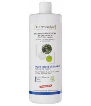 Dermaclay  Shampooing Douche Provence Romarin Sauge Thym Argile blanche 1 litre
